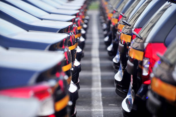 Neue Autos in line – Foto