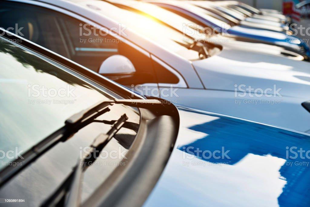 New cars parking at dealership New cars parking at dealership. Abstract Stock Photo