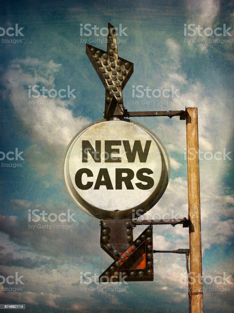 new cars sign stock photo