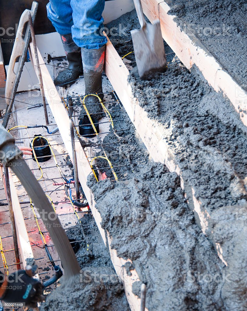 New cement steps being poured with heat cable royalty-free stock photo