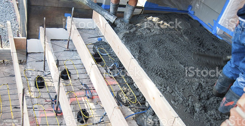 New cement steps being poured with heat tape royalty-free stock photo