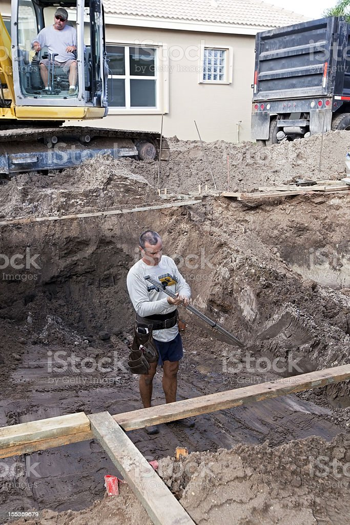 new cement swimming pool construction royalty-free stock photo
