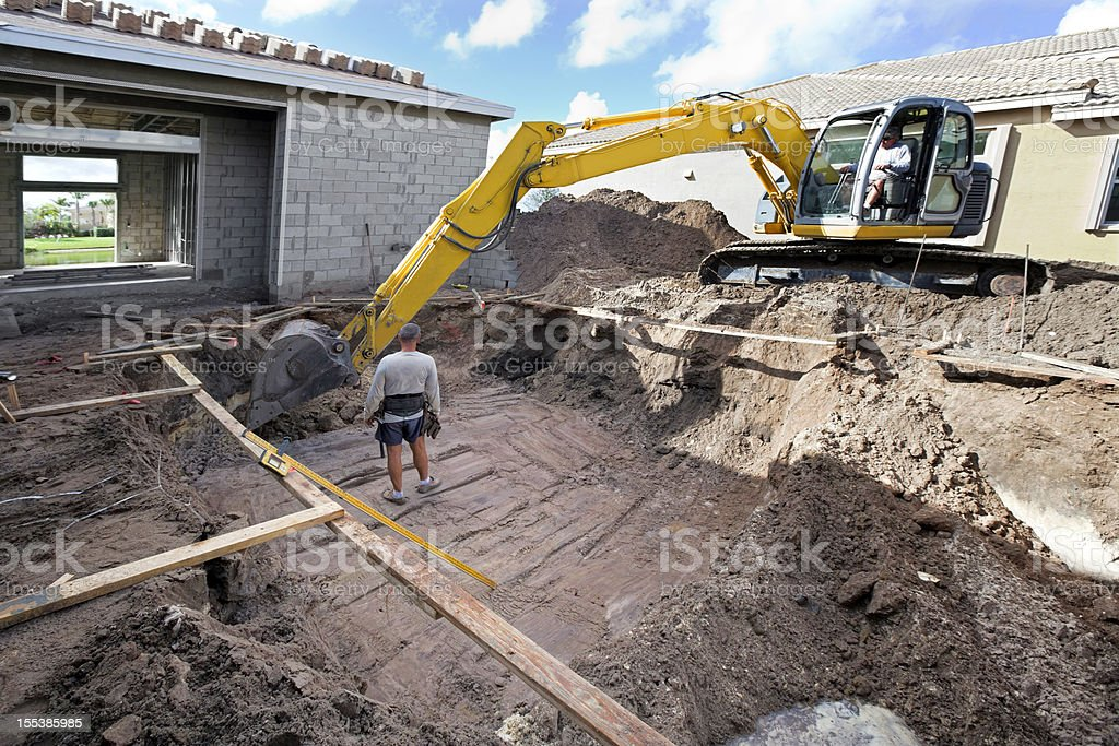 new cement swimming pool construction stock photo