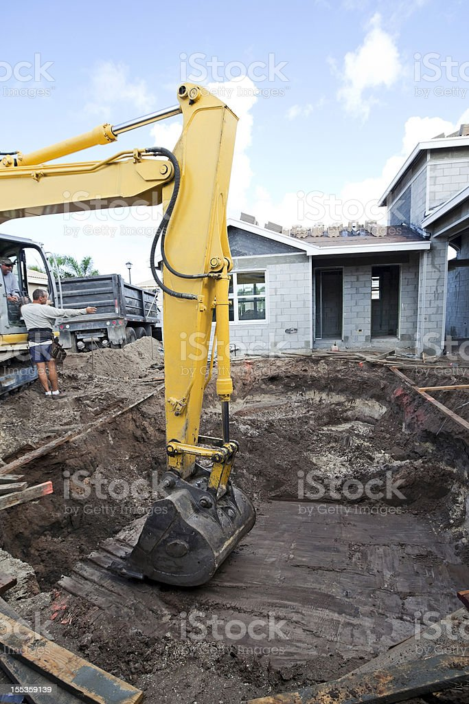 new cement swimming pool construction series royalty-free stock photo
