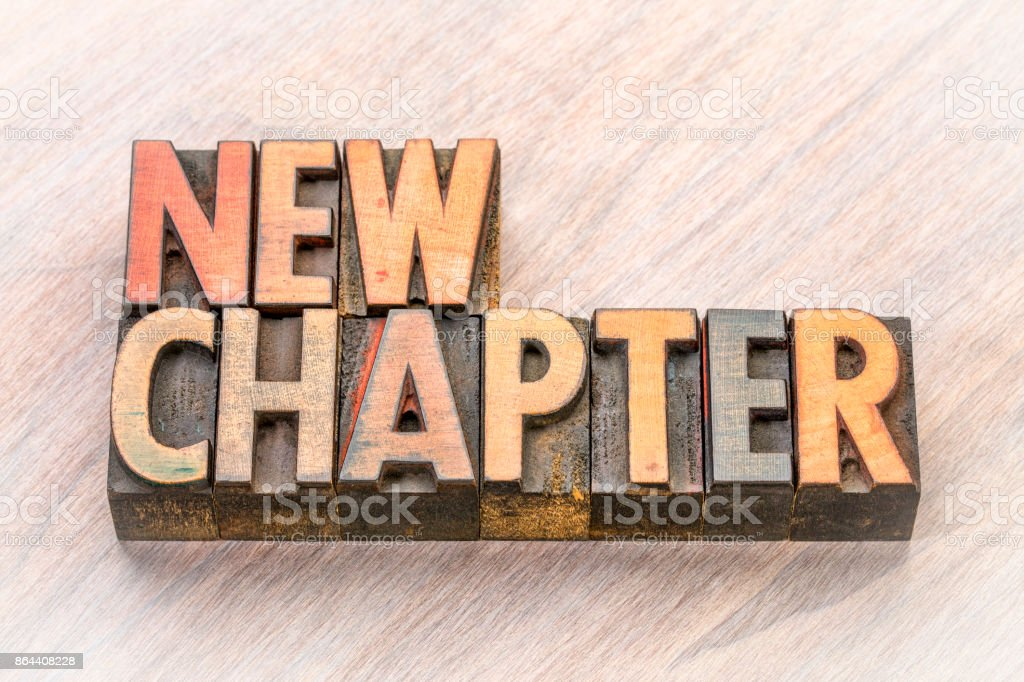 new chapter word abstract in wood type stock photo