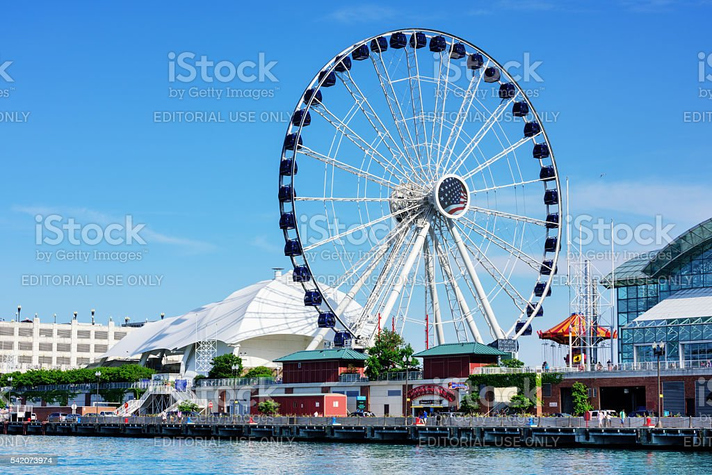New Chicago Ferris Wheel stock photo