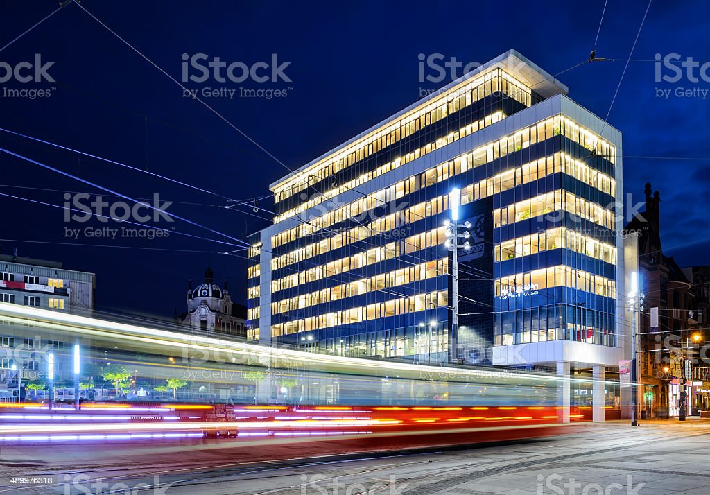 New City Hall and tram rides in Katowice main square stock photo