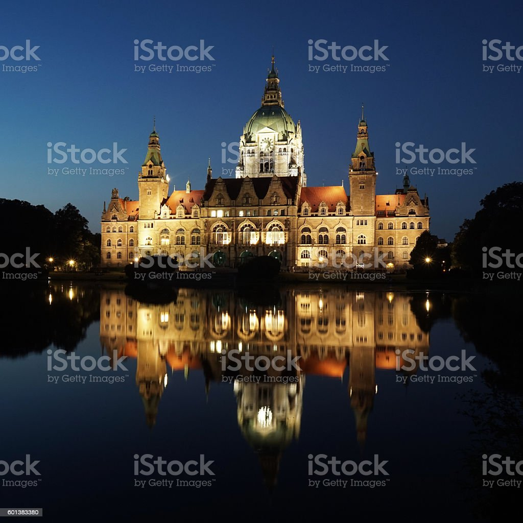 New City Hall in Hannover Germany at night stock photo