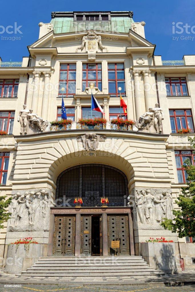 New City Hall, Prague, Czech Republic. stock photo