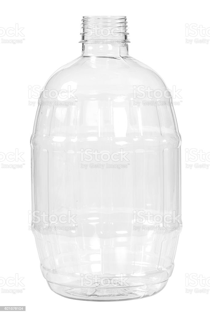 New, clean, empty plastic bottle on white background photo libre de droits