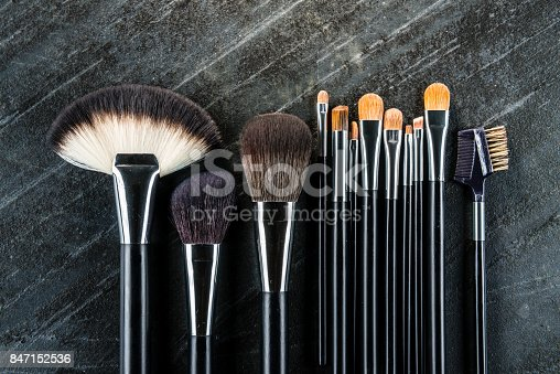847152782 istock photo new clean professional cosmetic brush set 847152536