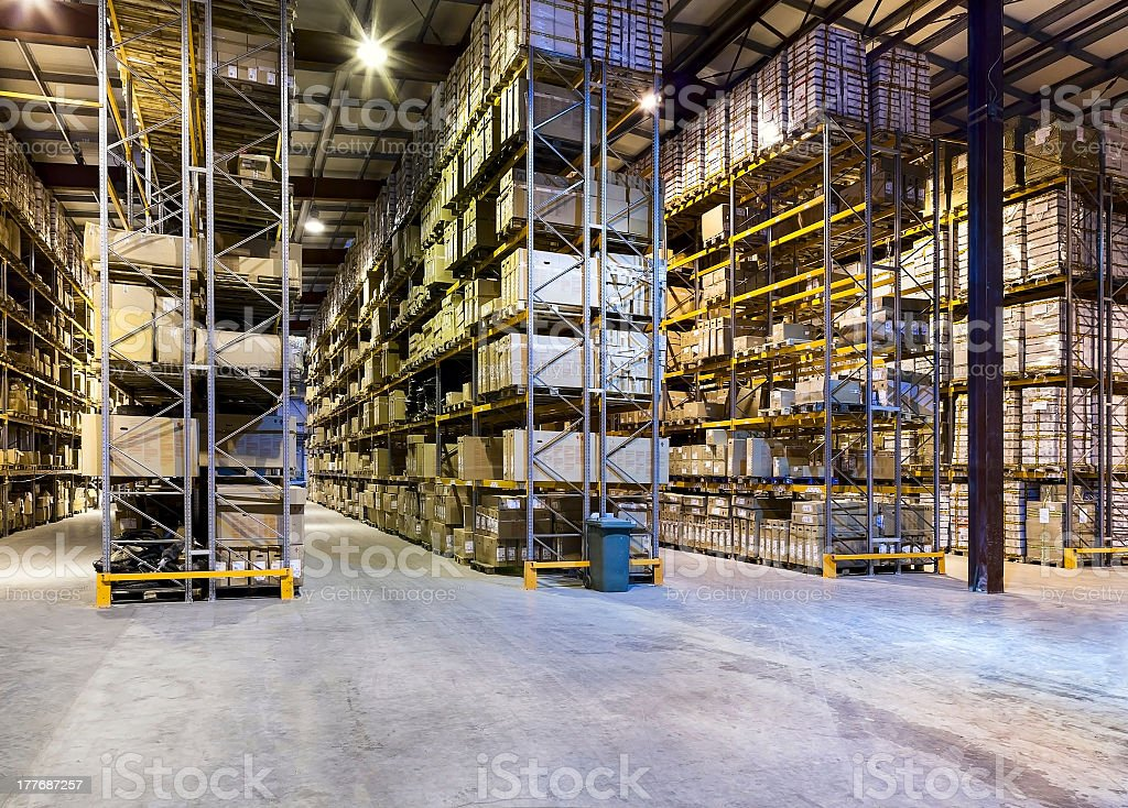 New clean warehouse full of inventory stock photo