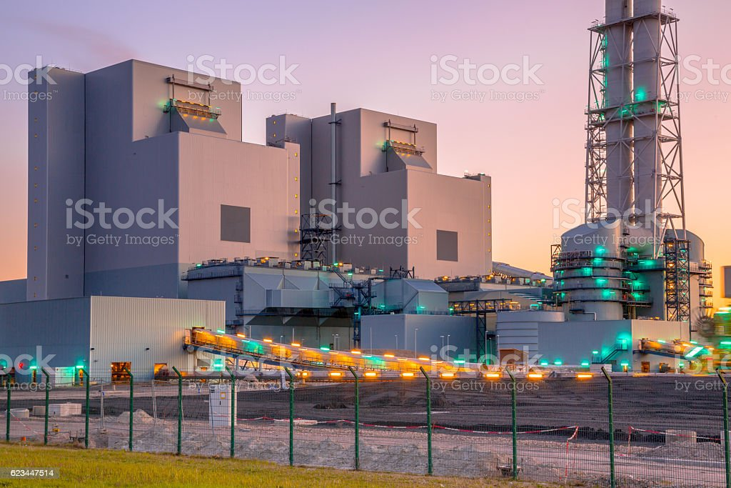 New coal and biomass powered plant stock photo