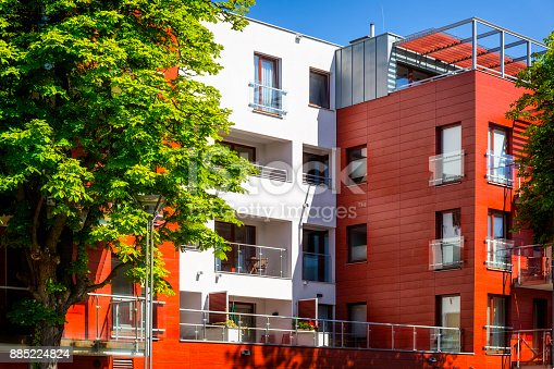 889473004 istock photo New colorful apartment building facade 885224824