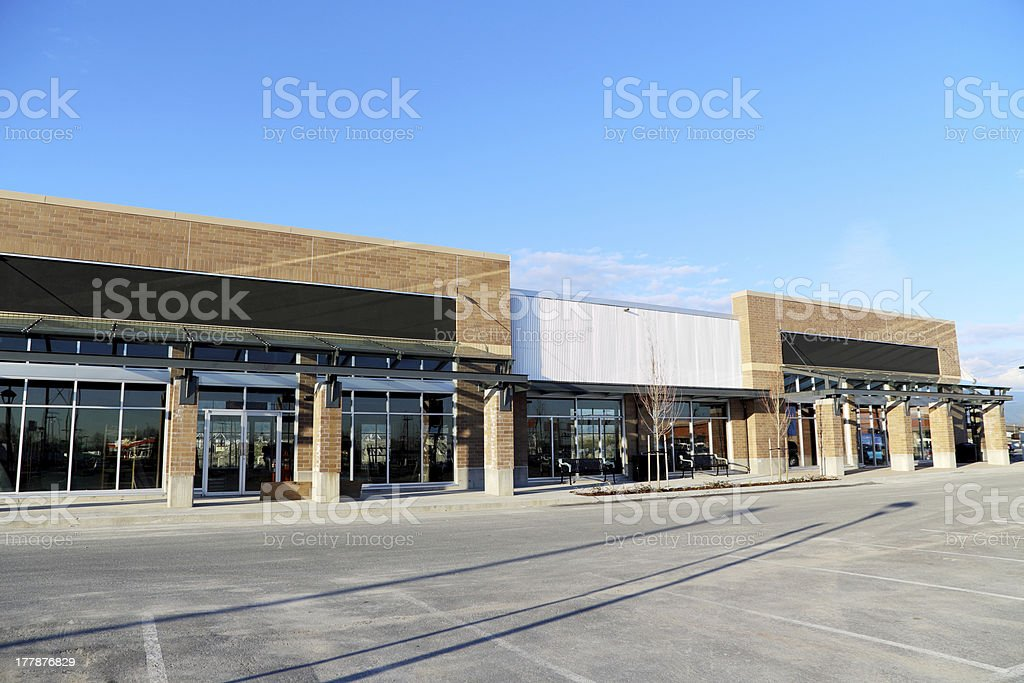 New Commercial Building with Retail and Office Space Available stock photo