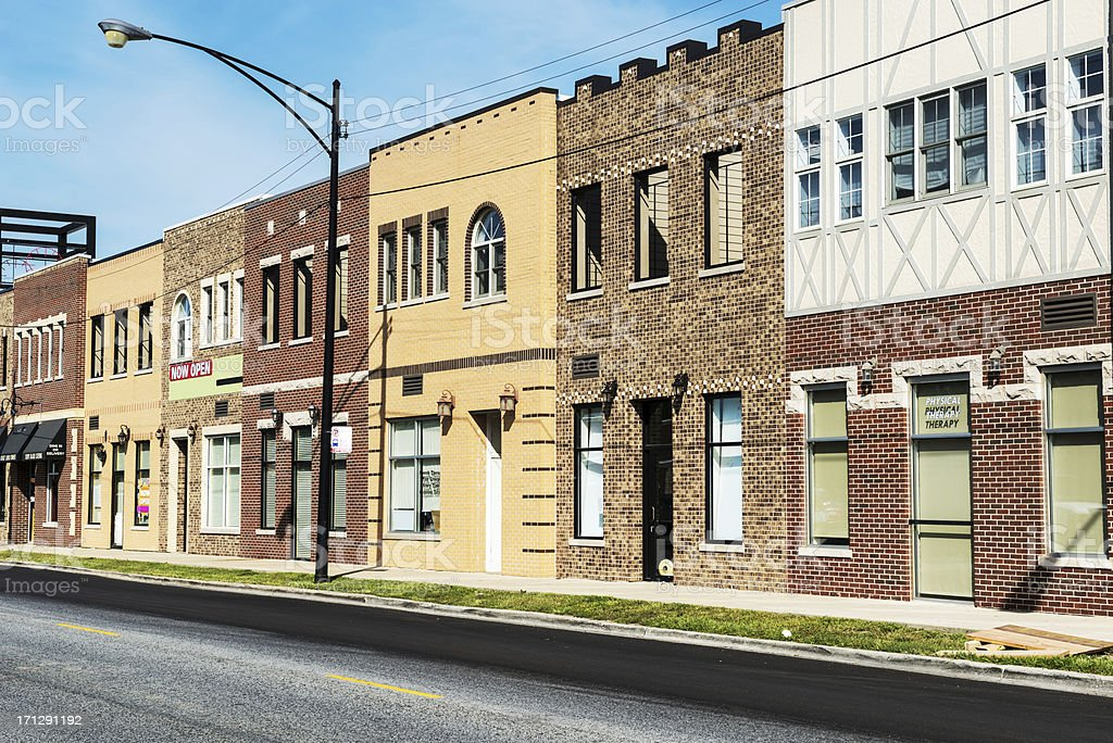 New commercial buildings in Mount Greenwood, Chicago royalty-free stock photo
