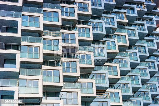 Stock photograph of new condos in downtown Vancouver Canada