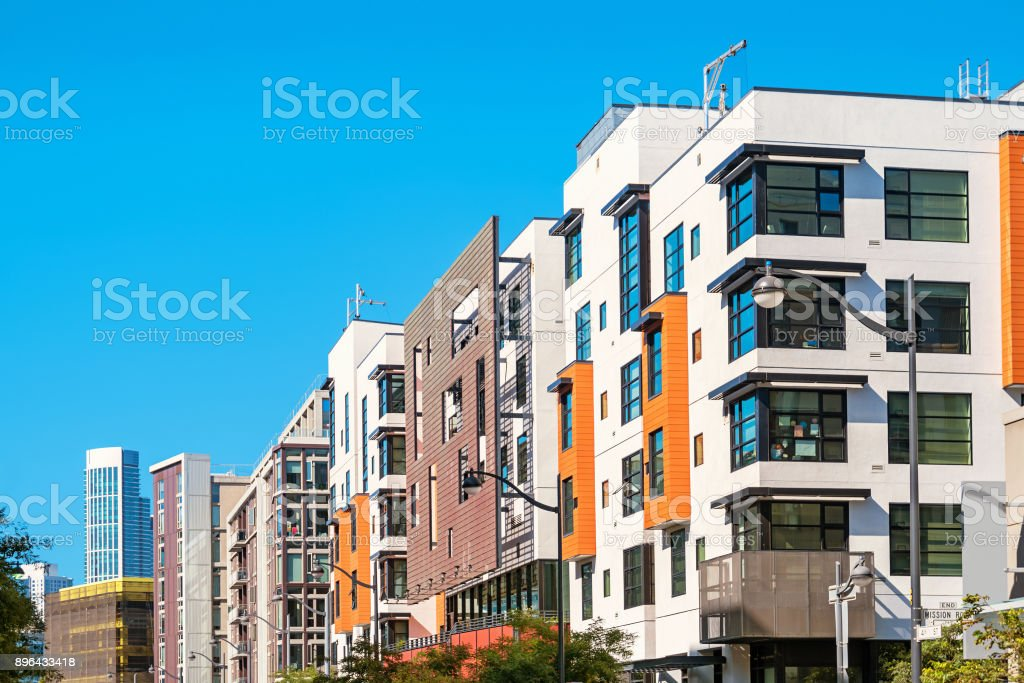 New condos in San Francisco Mission Bay district California stock photo
