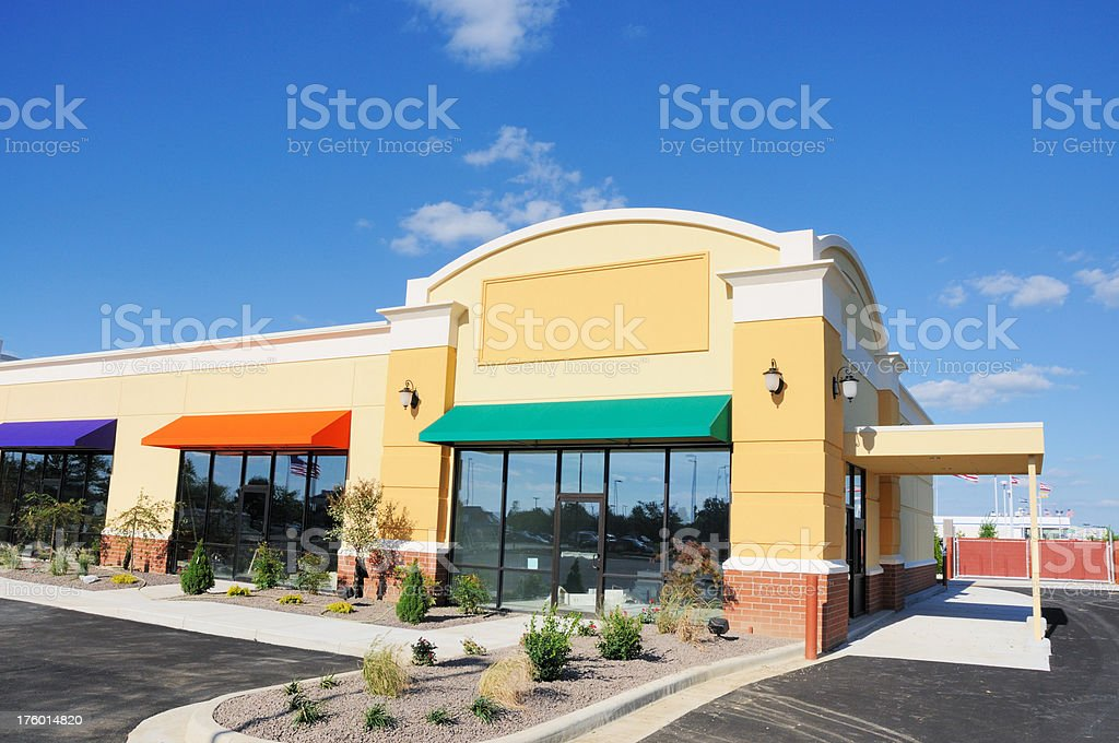 New Construction Commercial Real Estate Storefront Building stock photo