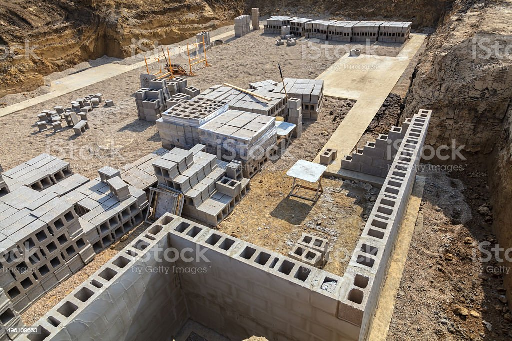 New Construction - Footings and concrete block wall foundation stock photo