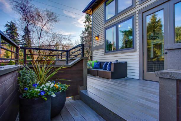 New construction home exterior boasts luxury deck stock photo