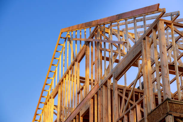 New construction home residential construction home framing against a blue sky New residential construction home framing home against a blue sky building activity stock pictures, royalty-free photos & images
