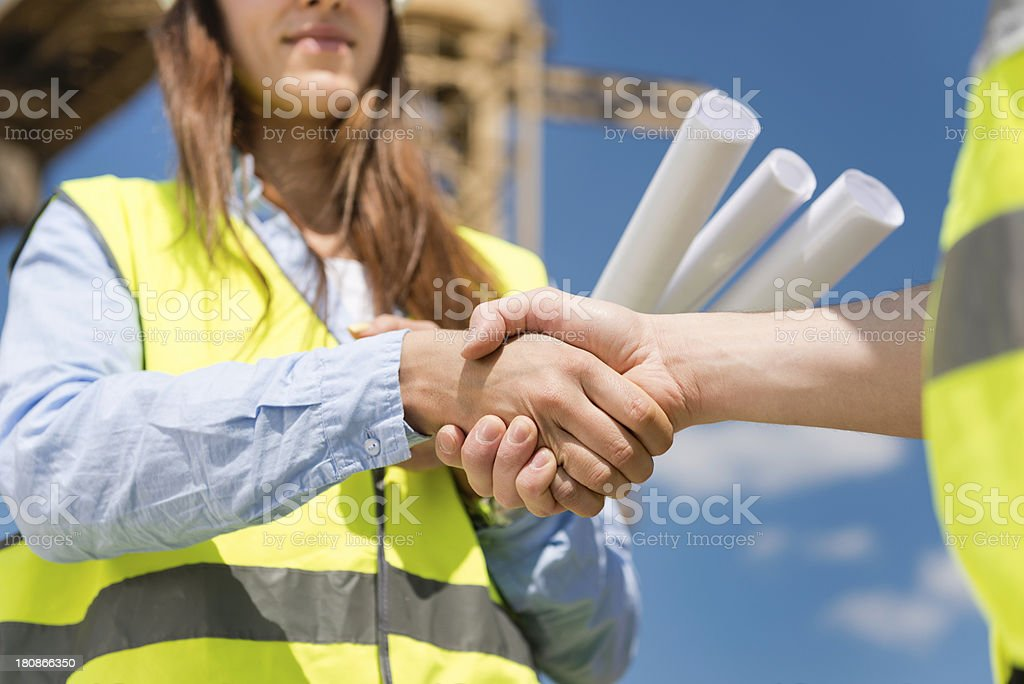 New construction project agreement stock photo