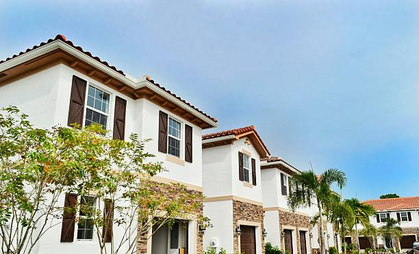 New construction townhomes Brand new townhouses in suburban West Palm Beach, Florida gated community stock pictures, royalty-free photos & images