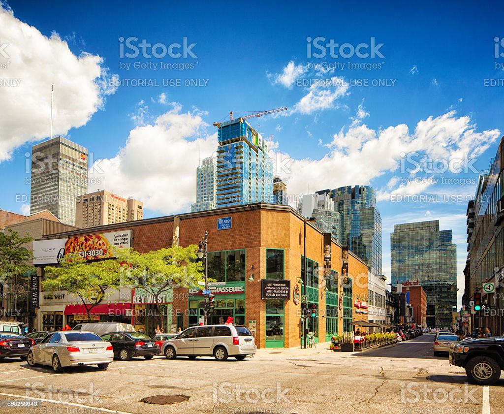 New constructions in Montreal's downtown area stock photo