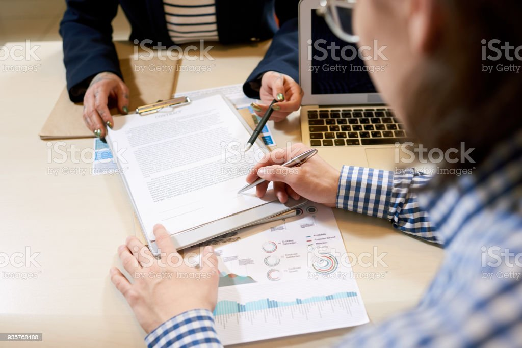 New contract with business partner stock photo
