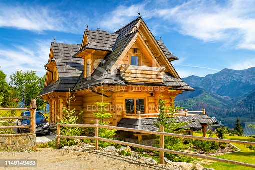 Zakopane, Poland - August 15, 2017:Summer view of beautiful holiday country villa with wood shingle roof in Zakopane, small tourist resort in Tatra Mountains, Poland