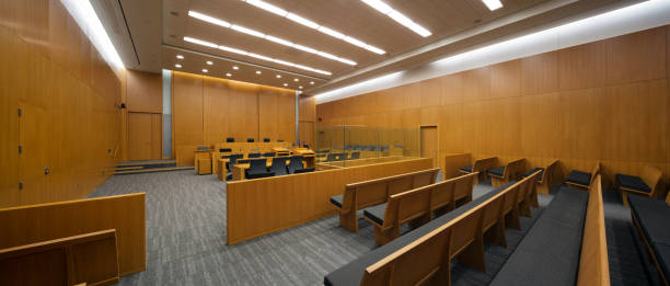 New Courtroom Panoramic view of a new modern courtroom courtroom stock pictures, royalty-free photos & images