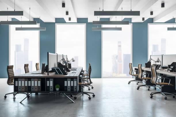 新しいオフィスのインテリアをコワーキング - オフィス ストックフォトと画像