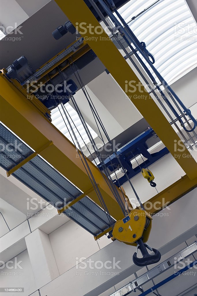 New Crane in Warehouse. Color Image royalty-free stock photo