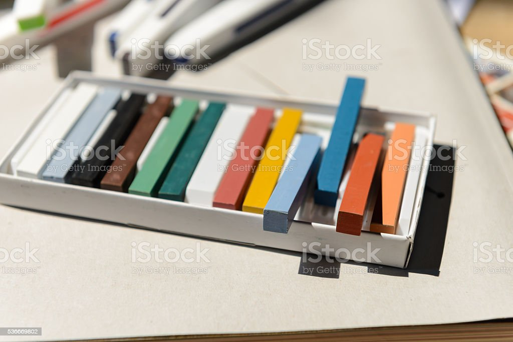 New crayons pastels color in box stock photo