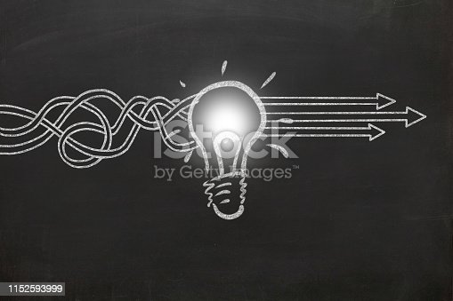 New creative idea light bulb blackboard