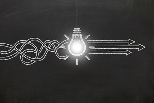 New creative idea light bulb blackboard
