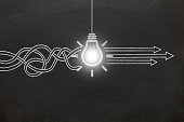 istock New creative idea light bulb blackboard 1208372803