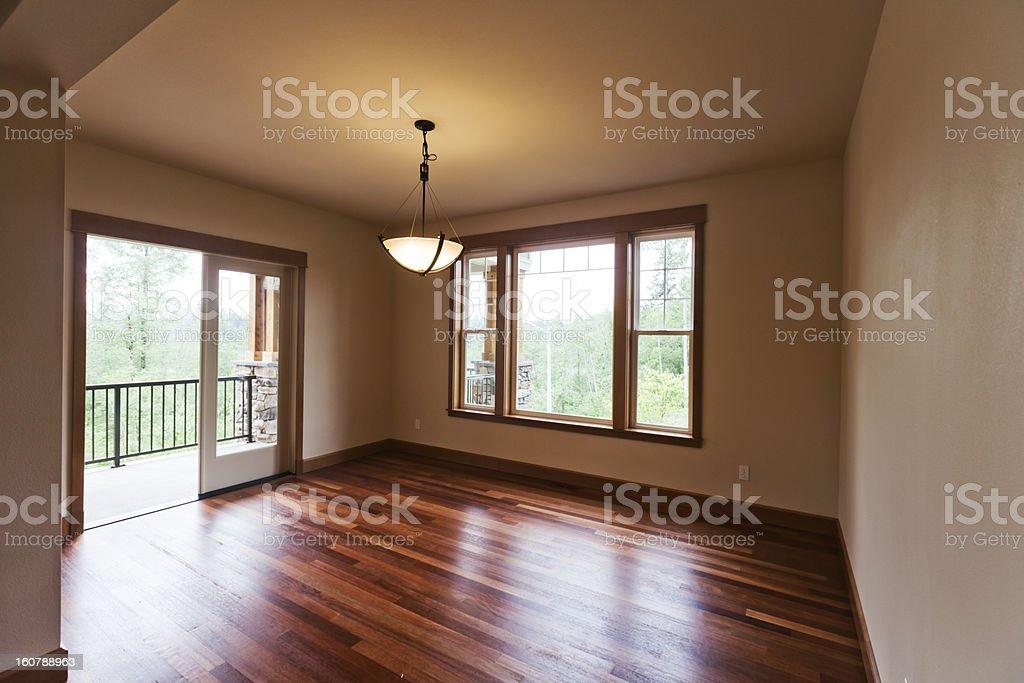 New custom craftsman home interior beautiful hardwood floors patio royalty-free stock photo