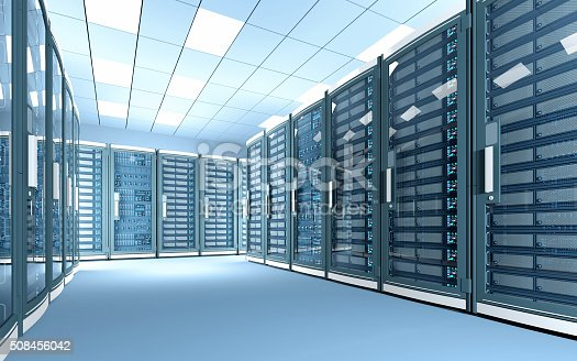 State-of-the-art data center server room illuminated by bright light with rows of black cabinets. High key scene with white illumination. Aisle surrounded by black cabinets with glass doors protecting servers with displays full of data, numbers, and blue blinking lights and leds. Simulation of a modern and futuristic cloud computing and data storage facility with telecommunications equipment. Digitally generated image.