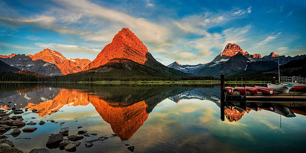 new day dawning - us glacier national park stock pictures, royalty-free photos & images