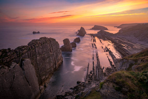 A new day in the coast.Cantabria. Dawn on the coast of Cantabria, Spain cantabria stock pictures, royalty-free photos & images