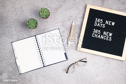 365 new days, 365 new chances. Letter board with motivational quote with notepad , pen, eye glasses and succulent. New year's resolutions mockup. Flatlay, top view