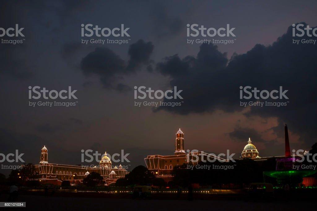 New Delhi, India, August 14, 2017:Illuminated President's Estate of India, New Delhi stock photo