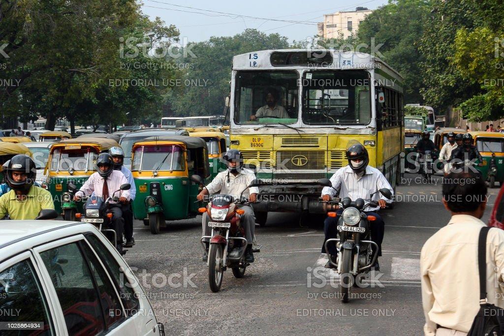New Delhi, motorcycle in traffic stock photo