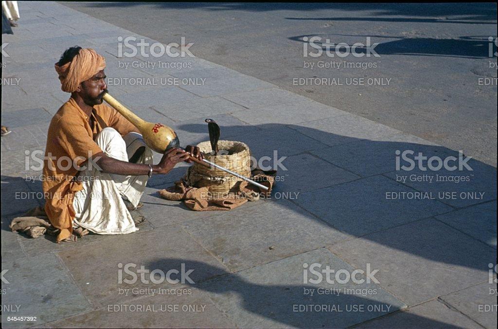 New Delhi, Snake Charmer, 1974 stock photo