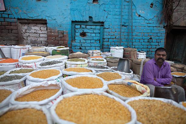 New Delhi spice market stock photo
