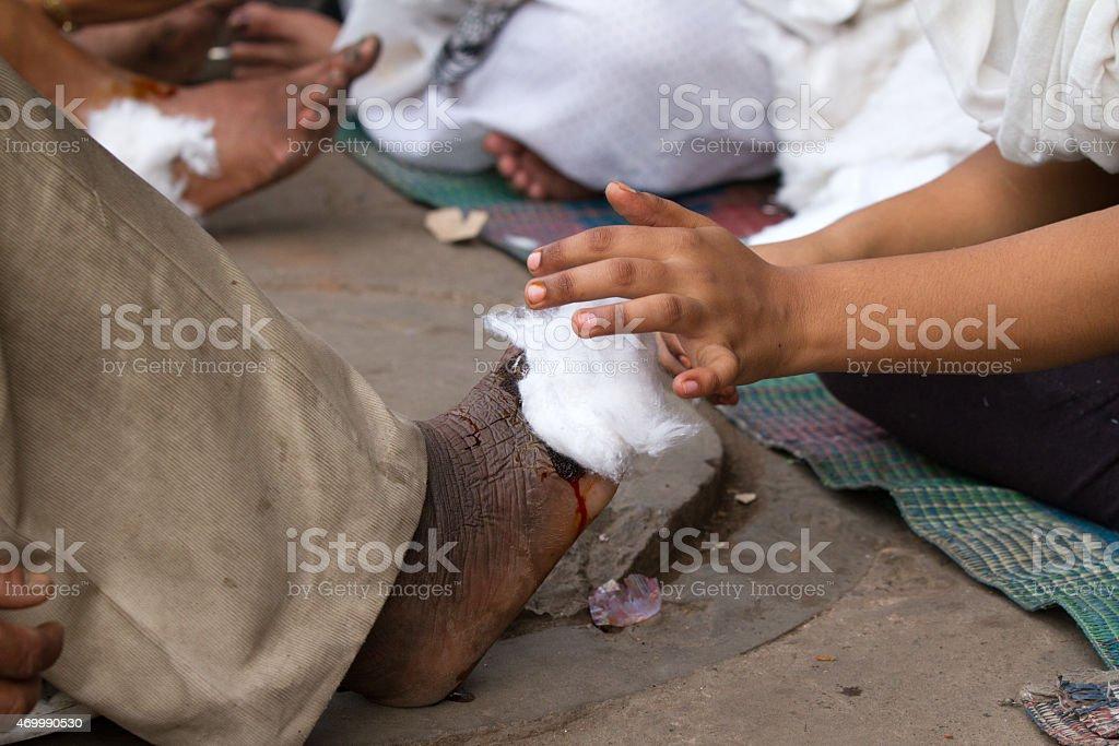 New Delhi street clinic stock photo