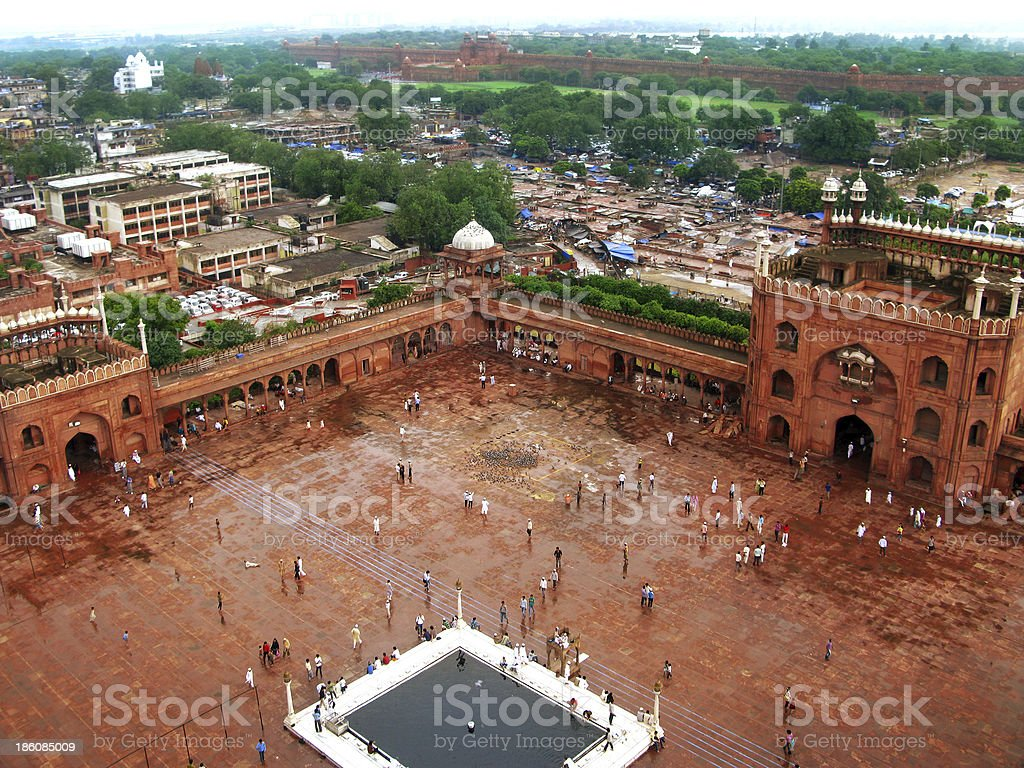 New Delhi: View from the minaret of Jama Masjid mosque royalty-free stock photo