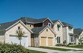 Modern nice brick homes in new development suburb in Austin, Texas